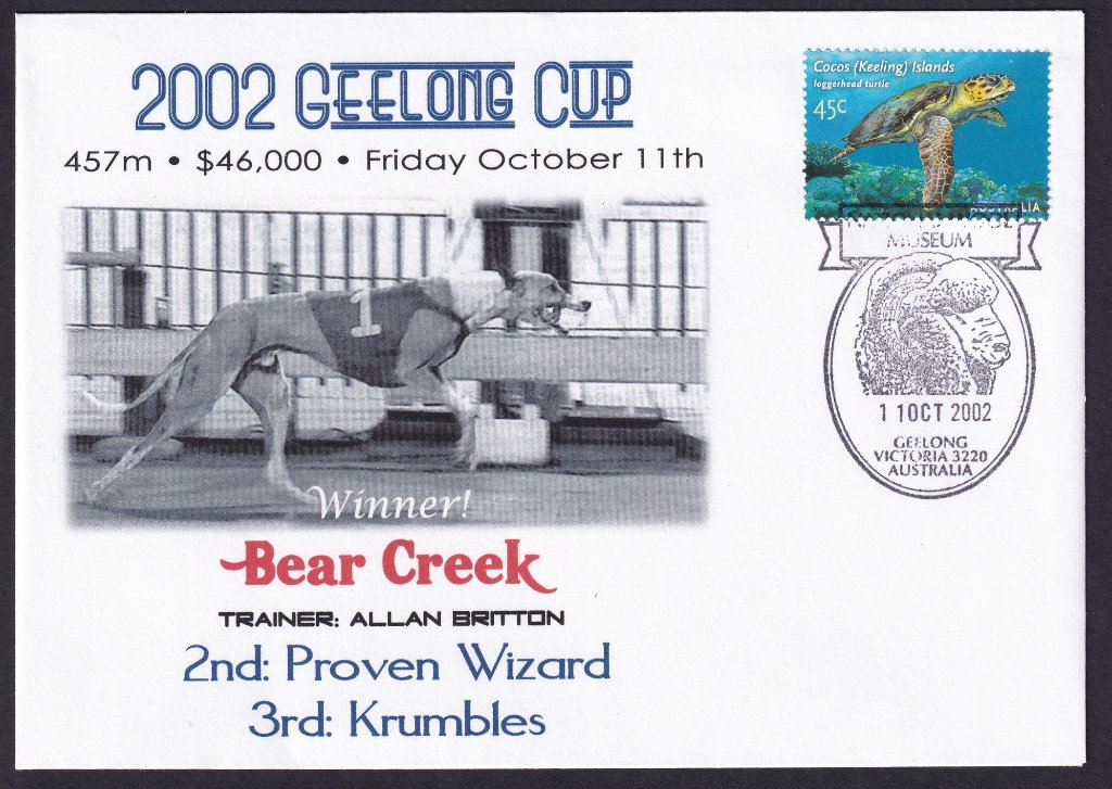 Unbranded Alpha Souvenir cover for the 2002 Geelong Greyhounds Cup postmarked with the Geelong Wool Museum pictorial postmark on 11th October 2002.