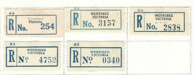 Registration labels from Werribee.