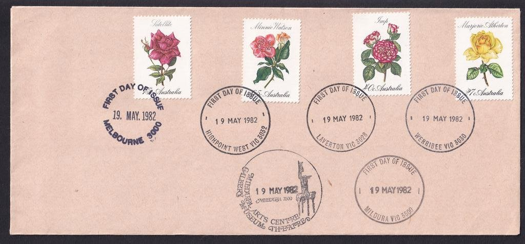 Uncacheted Roses fdc issued 19th May 1982