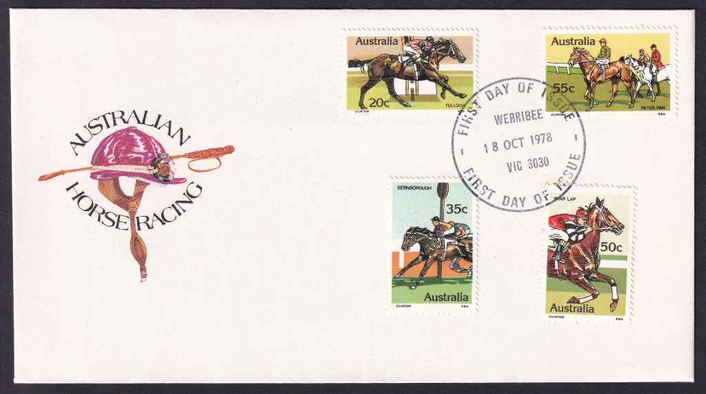 1978 Australian Racehorses Tulloch 20c, Bernborough 35c, Phar Lap 50c & Peter Pan 55c stamps fdc postmarked redesigned Werribee fdi cancel - 18th October 1978