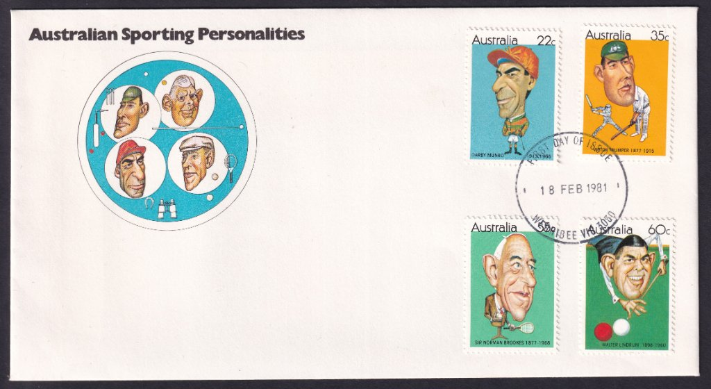 Australian Sporting Personalities fdc, including 22c Darby Munro stamp postmarked Werribee fdi 18th February 1981.