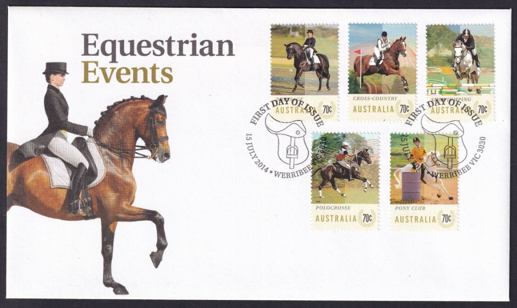 Australia Post fdc for the 5 x 70c gummed stamps featuring Equestrian Events with the Werribee Saddle pictorial National fdi postmark - 15th July 2014