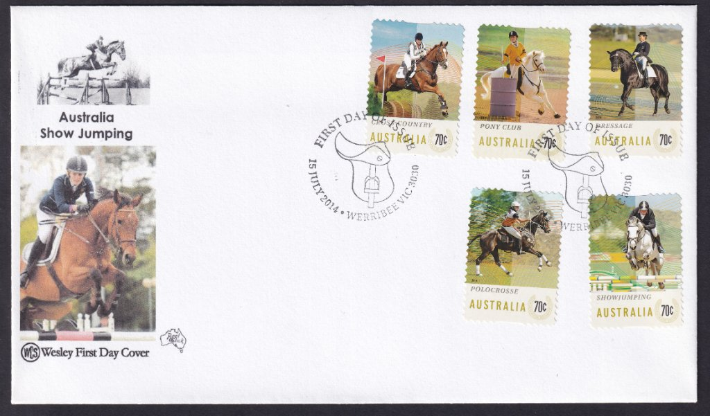 WCS fdc for the 5 x 70c peel & stick self-adhesive stamps featuring Equestrian Events with the Werribee Saddle pictorial National fdi postmark - 15th July 2014