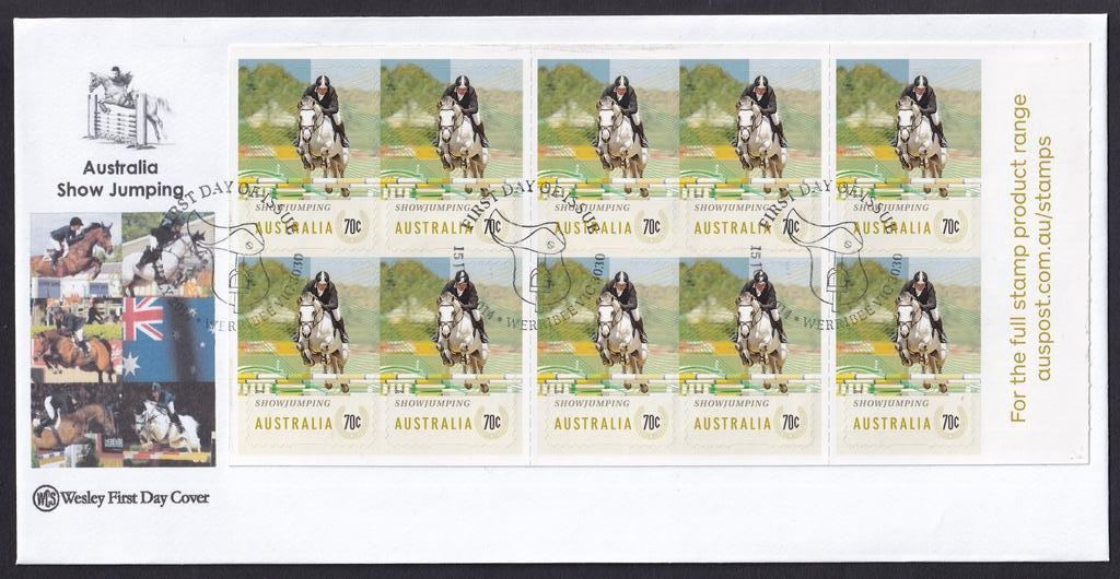 WCS fdc for the 10 x 70c peel & stick self-adhesive booklet pane stamps featuring Show Jumping with the Werribee Saddle pictorial National fdi postmark - 15th July 2014
