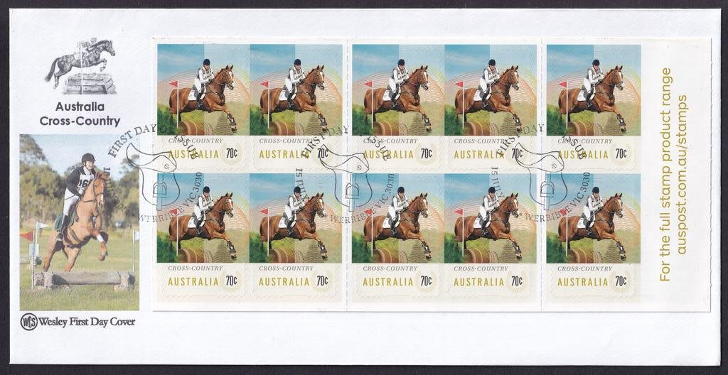 WCS fdc for the 10 x 70c peel & stick self-adhesive booklet pane stamps featuring Cross Country with the Werribee Saddle pictorial National fdi postmark - 15th July 2014