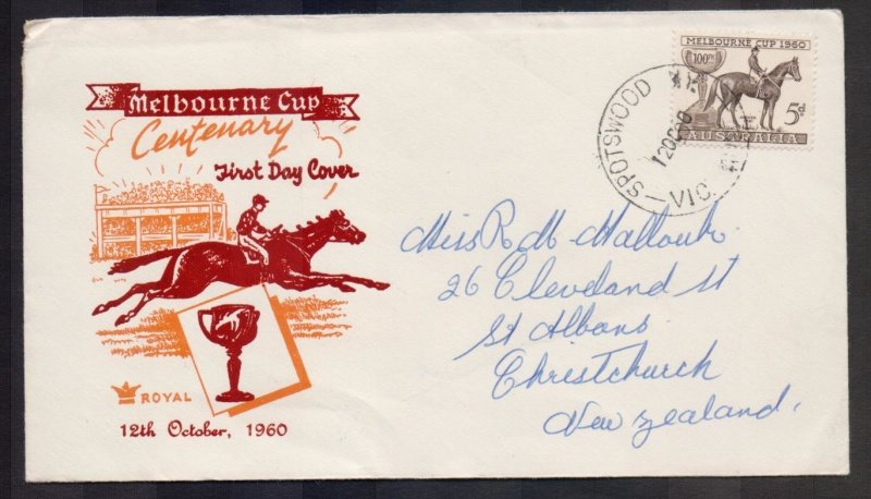 Royal 1960 Melbourne Cup 5d stamp fdc to New Zealand
