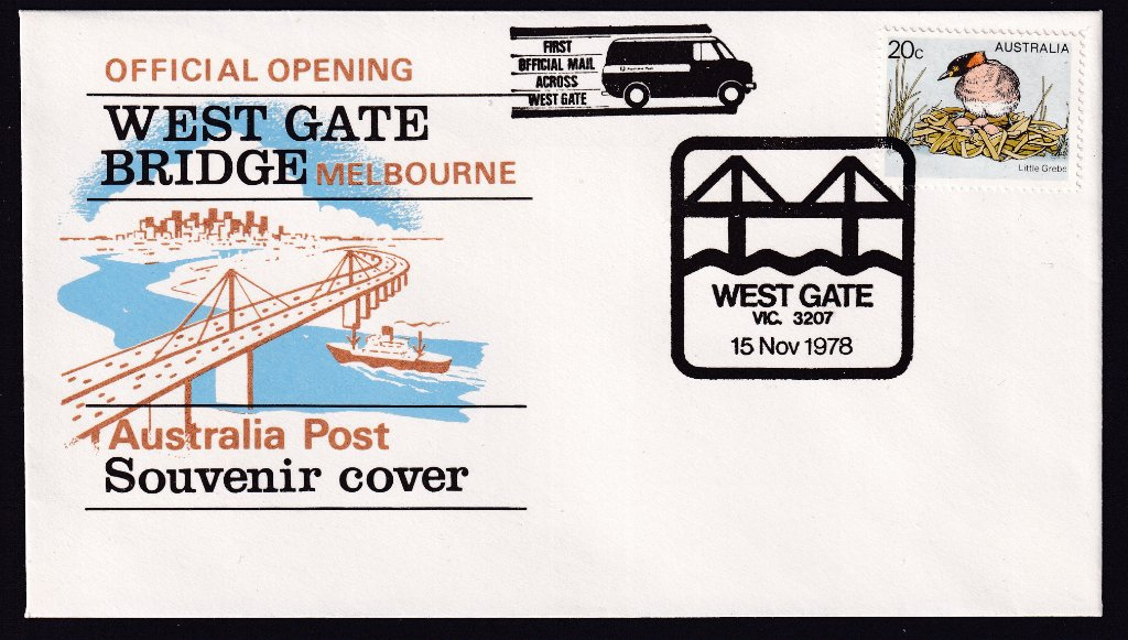 Australia Post Official Opening of the West Gate Bridge Souvenir Cover with special pictorial postmark & mail run cachet for 'Opening of the West Gate Bridge'.