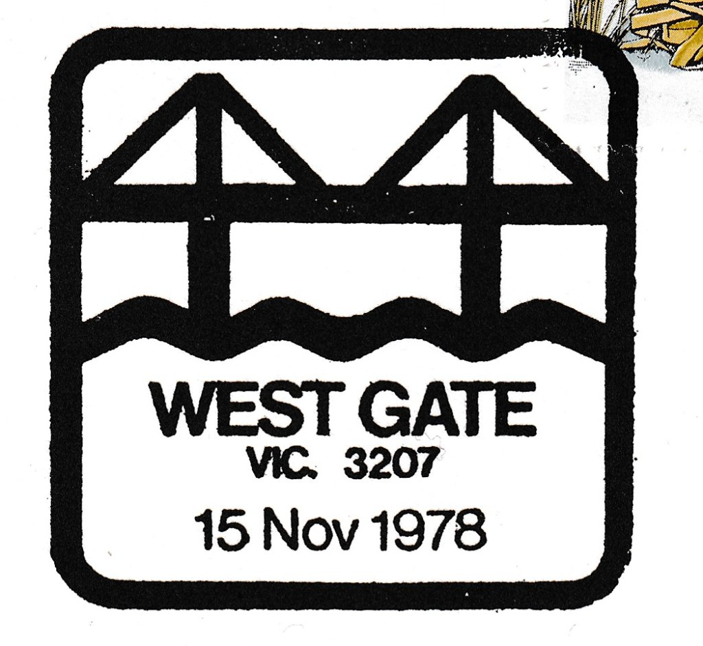 Special pictorial postmark stylising the West Gate Bridge over the Yarra River - 15th November 1978