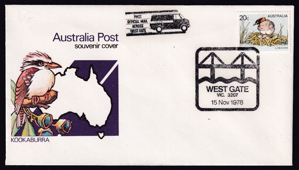 Australia Post Generic Kookaburra Souvenir Cover with special pictorial postmark & mail run cachet for 'Opening of the West Gate Bridge'.