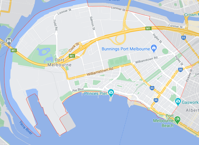 Post Code 3207 Port Melbourne, Garden City, Fishermens Bend &amp; <br />West Gate Park, the large green area on the left of the map.