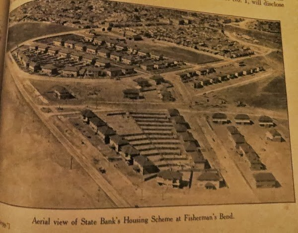 Garden City Bank Houses aerial view 1929