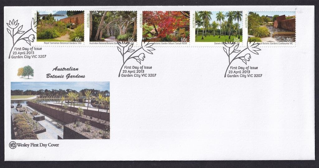 Australian Botanical Gardens WCS fdc setenant strip of 5 postmarked with National fdi Garden City pictorial cancel on 23rd April 2013.