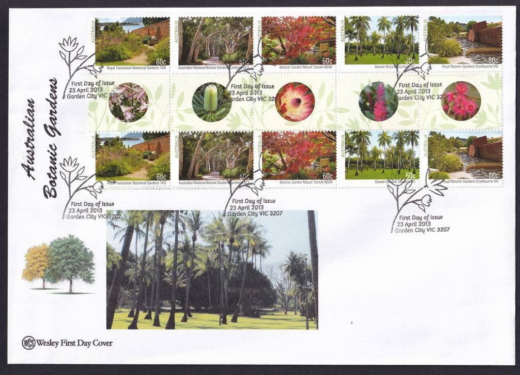 Australian Botanical Gardens WCS fdc with gutter pair setenant strip of 5 postmarked with National fdi Garden City pictorial cancel on 23rd April 2013.