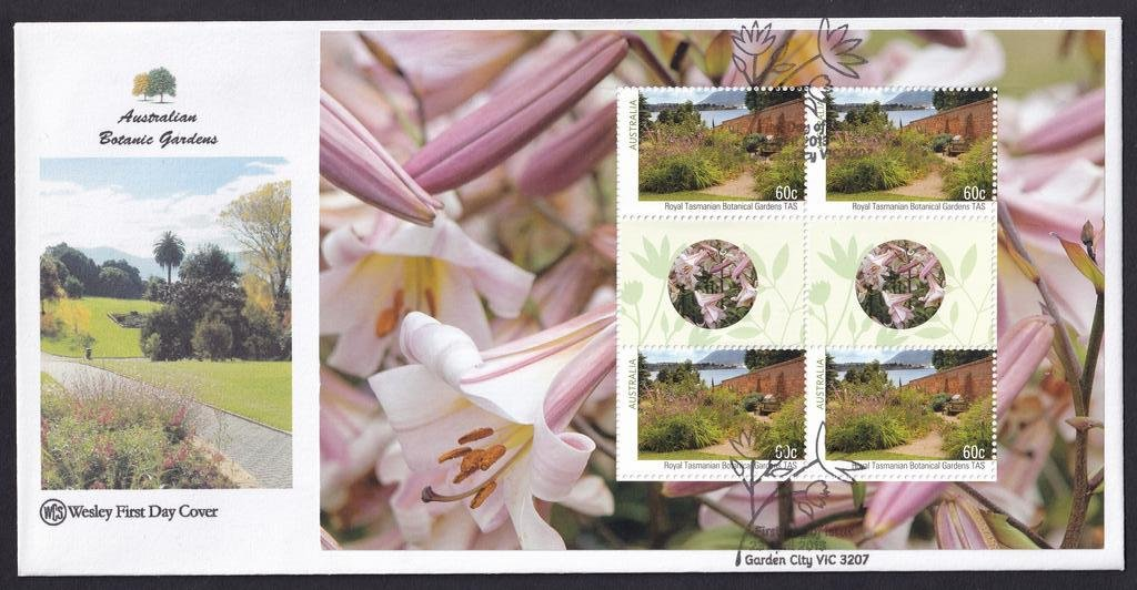 Australian Botanical Gardens WCS fdc with Prestige Booklet pane for Royal Tasmanian Botanical Gardens postmarked with National fdi Garden City pictorial cancel on 23rd April 2013.