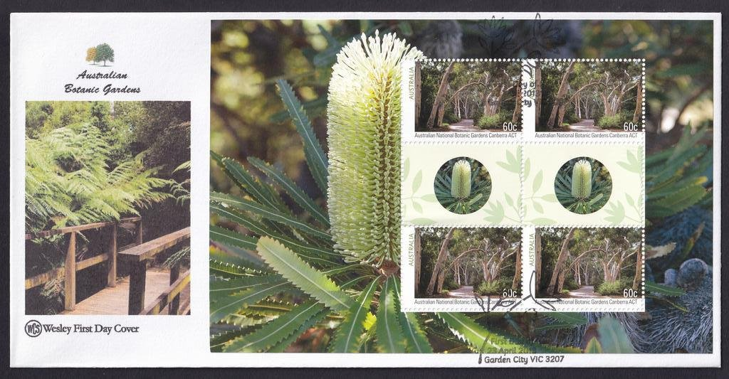 Australian Botanical Gardens WCS fdc with Prestige Booklet pane for Australian National Botanical Gardens Canberra ACT postmarked with National fdi Garden City pictorial cancel on 23rd April 2013.