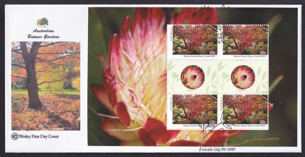 Australian Botanical Gardens WCS fdc with Prestige Booklet pane for Mt Tomah NSW Botanical Gardens postmarked with National fdi Garden City pictorial cancel on 23rd April 2013.