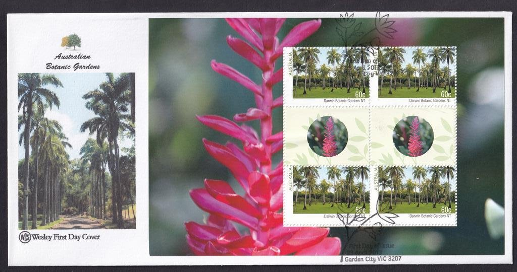 Australian Botanical Gardens WCS fdc with Prestige Booklet pane for Darwin NT Botanical Gardens  postmarked with National fdi Garden City pictorial cancel on 23rd April 2013.