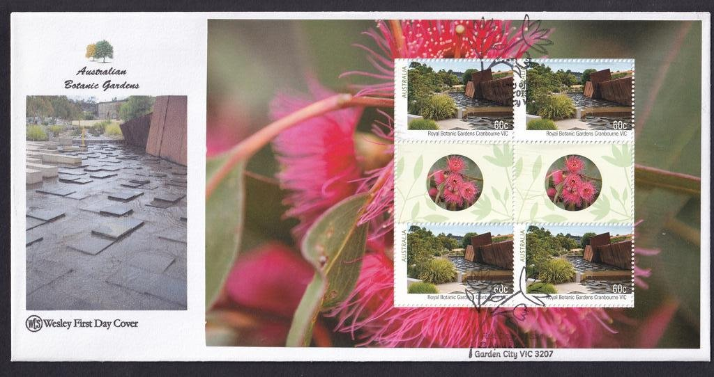 Australian Botanical Gardens WCS fdc with Prestige Booklet pane for  Cranbourne Vic Royal  Botanical Gardens postmarked with National fdi Garden City pictorial cancel on 23rd April 2013.