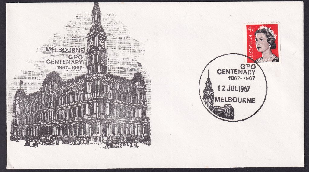 Australia Post GPO Souvenir cover postmarked on 12th July 1967  with the GPO Centenary pictorial postmark (APM #2390).