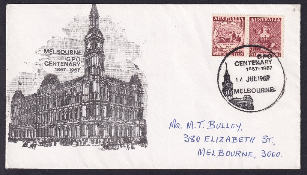 Australia Post GPO Souvenir cover postmarked on 14th July 1967  with the GPO Centenary pictorial postmark (APM #2390)  to Melbourne.