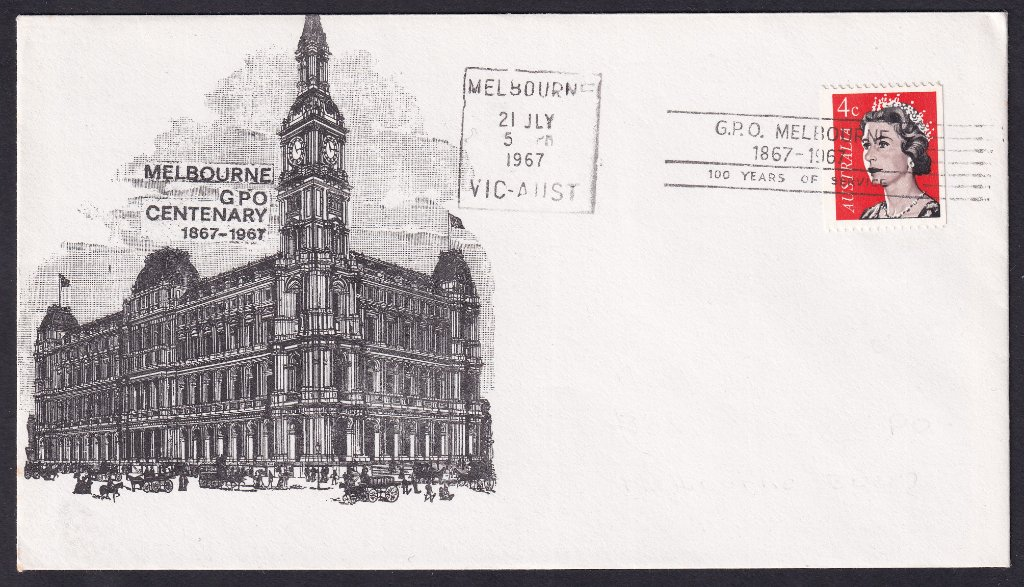 Centenary of the GPO Melbourne 3rd July to 22nd July 1967 machine cancel. Only 640 of these are recorded.