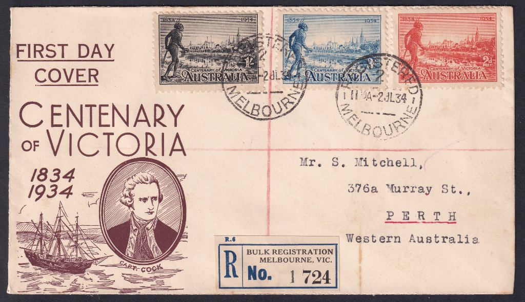 S Mitchell of Perth WA cachet fdc for the Centenary of Victoria.