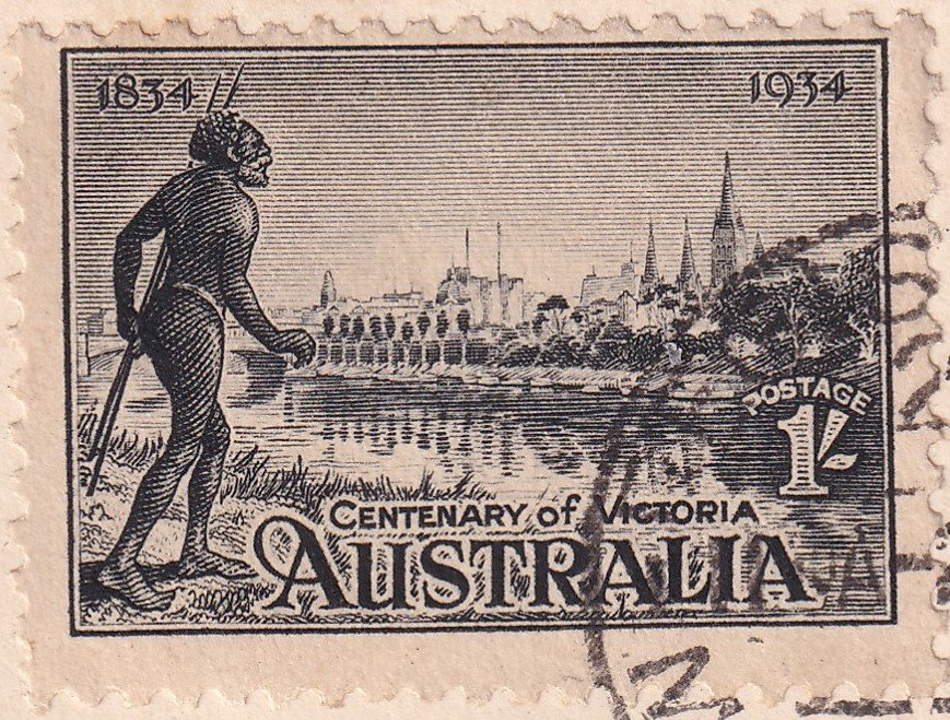 Aborigine on bank of the Yarra River with City of Melbourne in the background 1/- stamp.