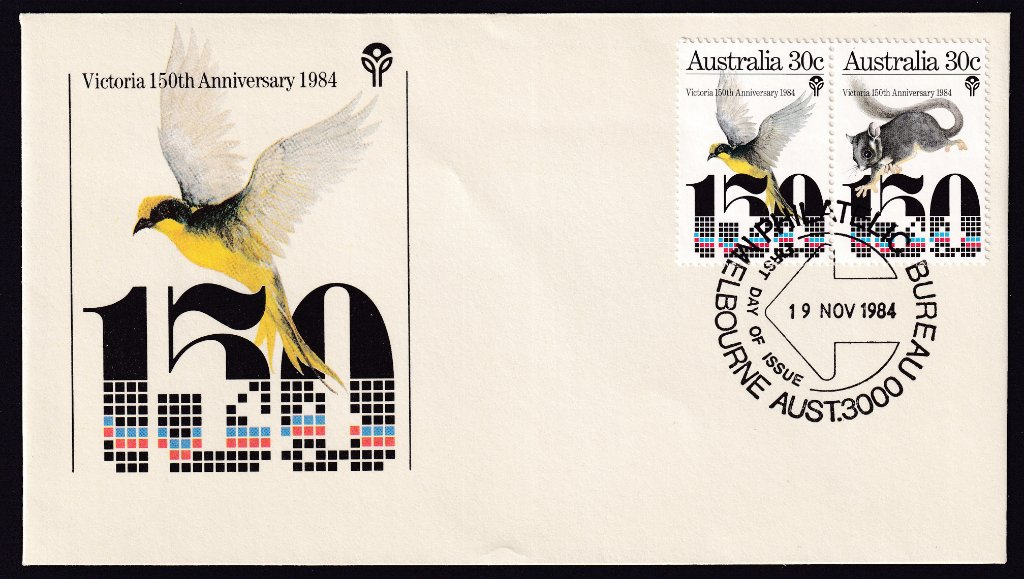 Victorian 150th Anniversary fdc with setenant pair of 30c stamps cancelled with Melbourne Philatelic Bureau fdi postmark on 19th Anniversary 1984.