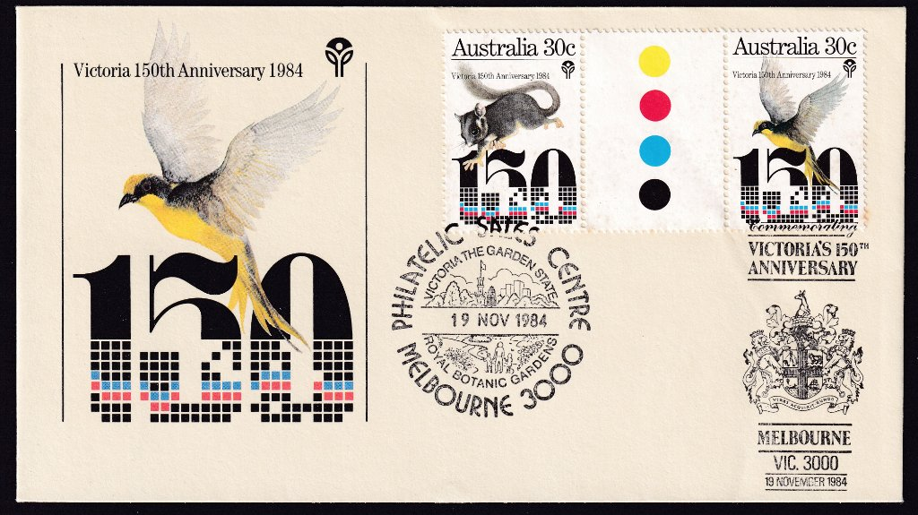 Victoria 150th Anniversary fdc with gutter pair of 30 stamps, Sugar Glider & Helmeted Honeyeater, cancelled with Philatelic Sales Centre - Botanical Gardens pictorial postmark (APM #10660) & Victoria's 150th Anniversary Melbourne Coat of Arms pictorial postmark (APM #15550) dated 19th November 1984 the fdi.