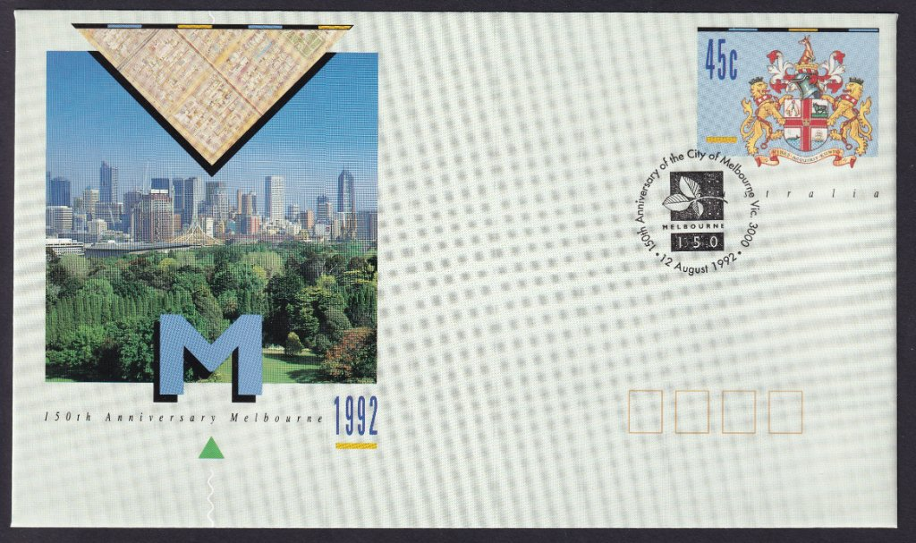 150th Anniversary of the City Of Melbourne pse postmarked with 150th Anniversary of City of Melbourne Souvenir pictorial postmark on 12th August 1992, the actual date of the 150th Anniversary (APM #24740)