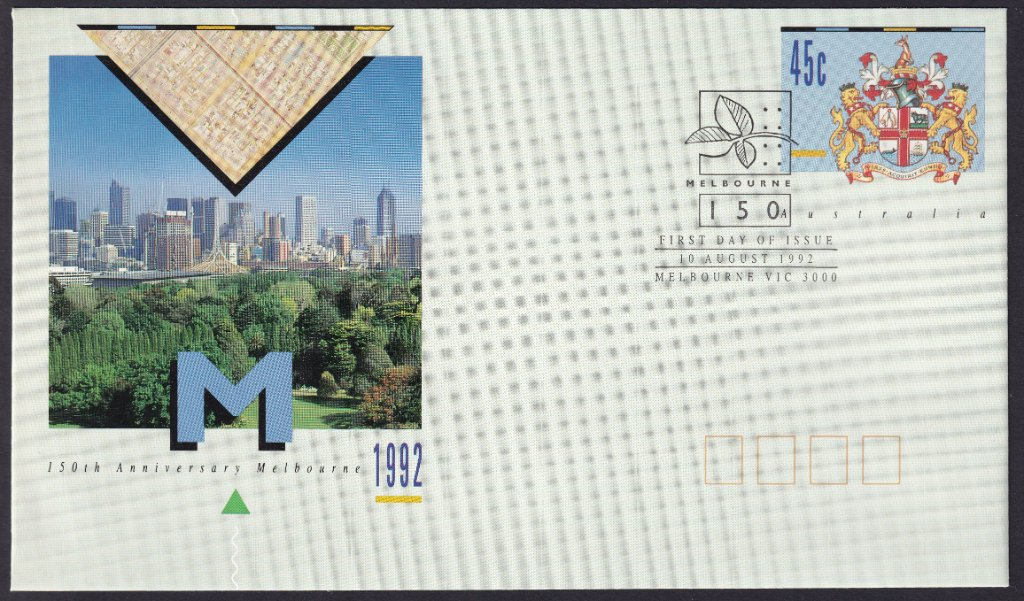 150th Anniversary of the City Of Melbourne pse postmarked with 150th Anniversary of City of Melbourne fdi pictorial postmark on 10th August 1992. (APM #24730)