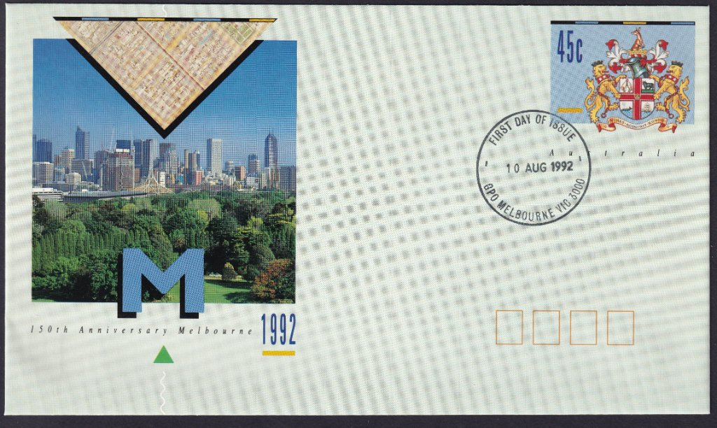 150th Anniversary of the City Of Melbourne pse with GPO Melbourne fdi postmark on 10th August 1992