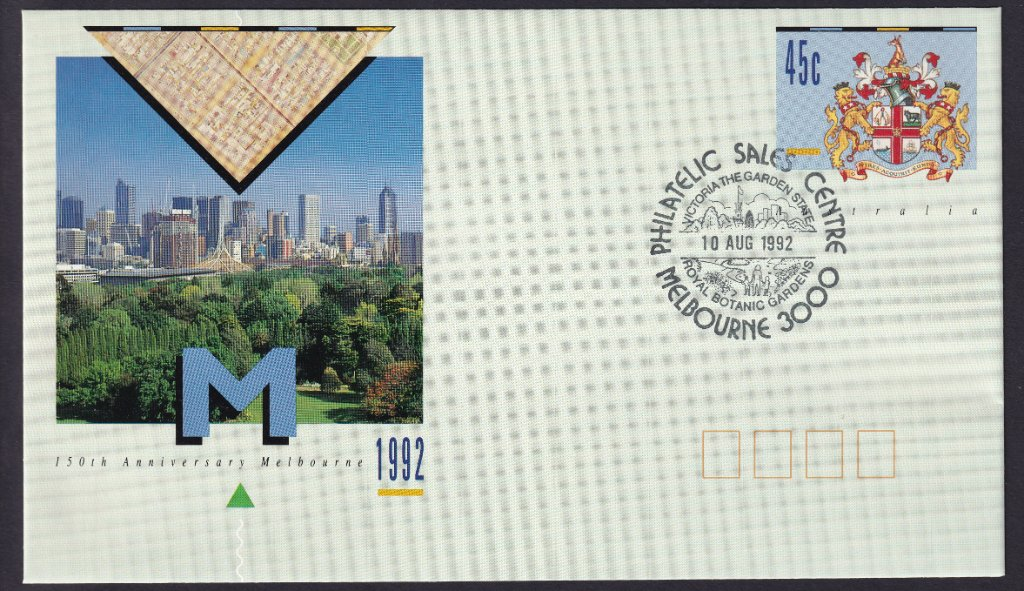 150th Anniversary of the City Of Melbourne pse with the Philatelic Sales Centre Melbourne - Royal Botanic Gardens pictorial postmark on fdi the 10th August 1992 (APM #10662)