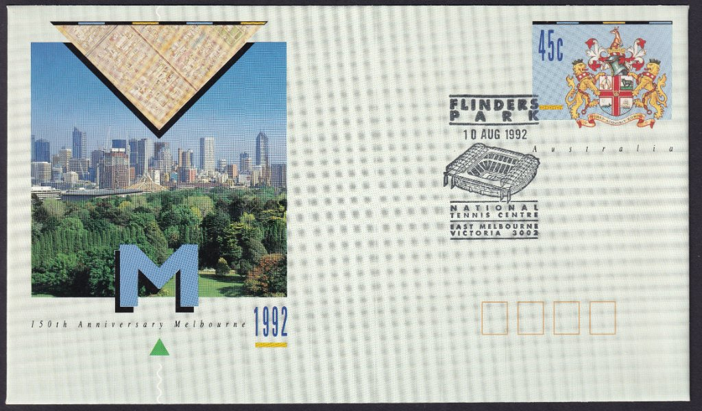 150th Anniversary of the City Of Melbourne pse with the National Tennis Centre Flinders Park pictorial postmark on fdi the 10th August 1992 (APM #23590)