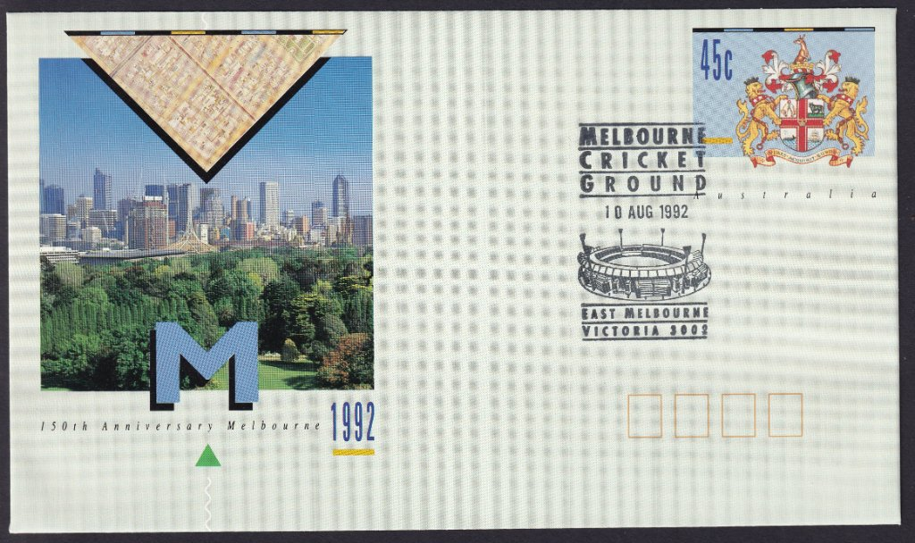 150th Anniversary of the City Of Melbourne pse with the Melbourne Cricket Ground pictorial postmark on fdi the 10th August 1992 (APM #23600)