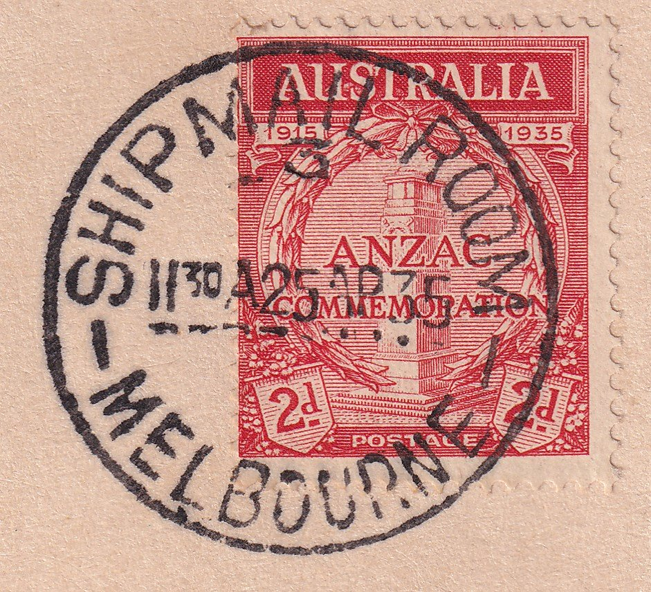 Postmarked Ship Mail Room Melbourne cds on ANZAC day the 25th April 1935