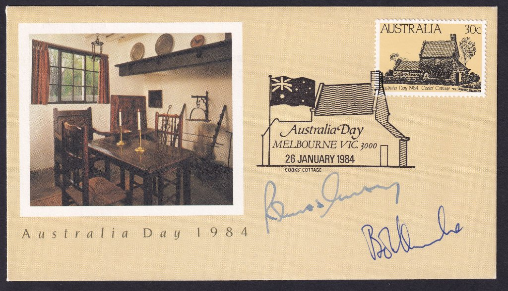 1984 Australia Day fdc signed by Prime Minister Bob Hawke & Olympic Marathon Runner Robert De Castella (1983 Australian of the Year.)