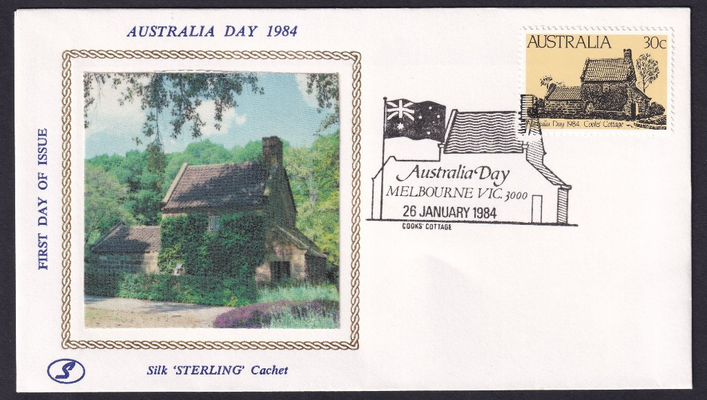 'Sterling' silk cachet fdc by Jack Koch of Adelaide with 30c Australia Day 1984 Captain Cook's Cottage stamp & cancelled with Captain Cook's Cottage Australia Day pictorial postmark on 26th January 1984 (APM #14510).