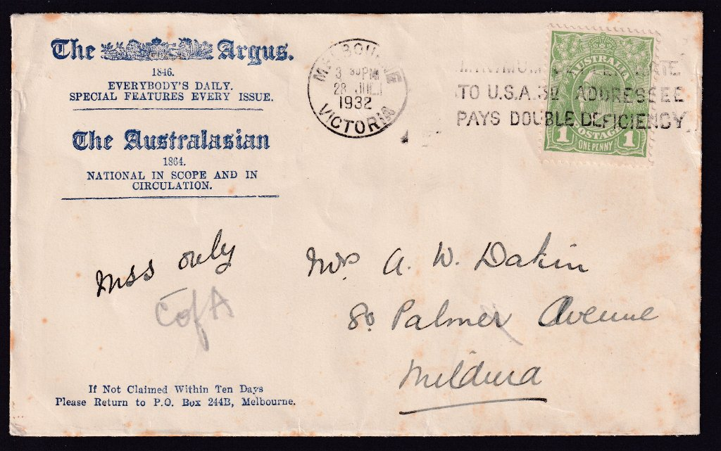 The Argus, advertising cover, Melbourne slogan cancel 28th July 1932 on KGV 1d green to Mildura