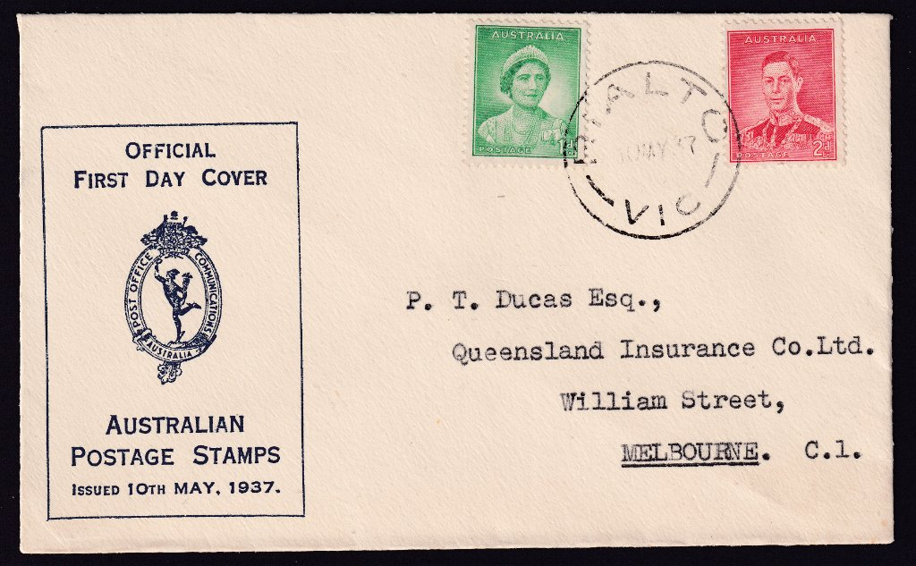 The first Australian Post Office cachet for the Coronation of King George VI & Queen Elizabeth postmarked Rialto (Collins Street, Melbourne) cds on fdi 10th May 1937 to William Street, Melbourne.