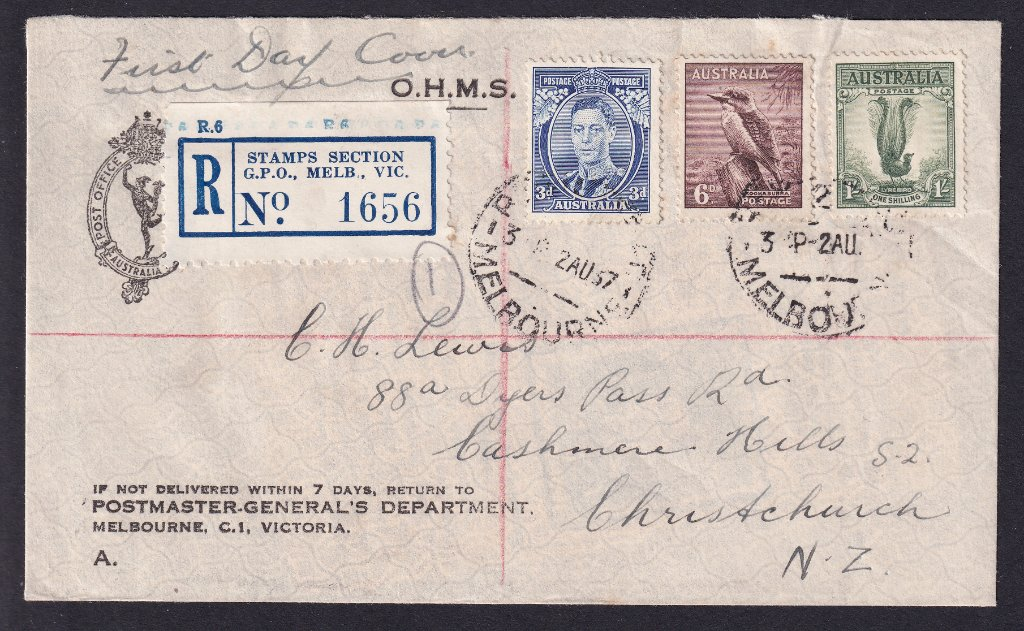 Registered OHMS fdc for KGVI 3d Blue Die I, 6d Kookaburra & 1/- Lyrebird from the Stamps Section GPO Melbourne (forerunner of the Philatelic Bureau) postmarked Registered Melbourne cds on fdi -2nd August 1937