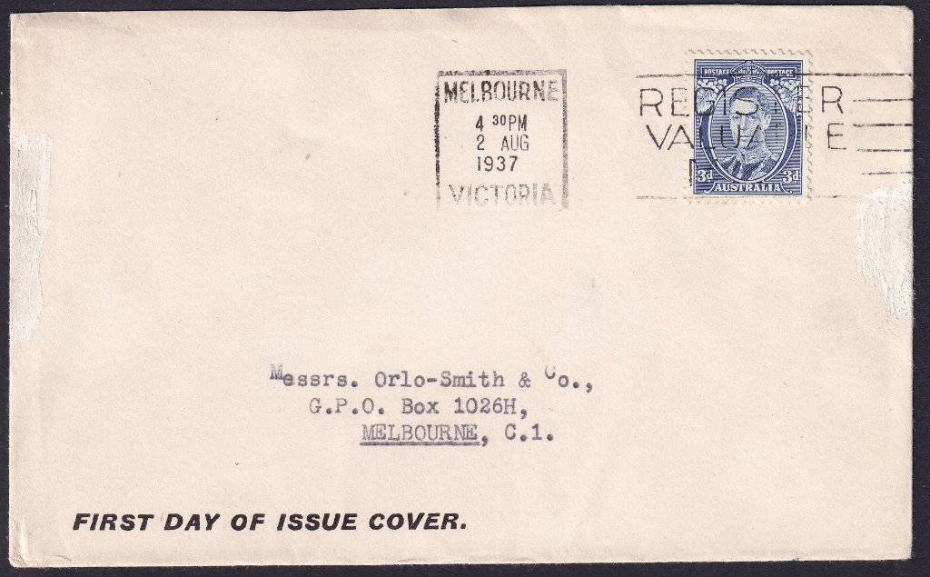 Orlo Smith fdc for KGVI 3d Blue Die I with Melbourne machine slogan cancel on fdi - 2nd August 1937