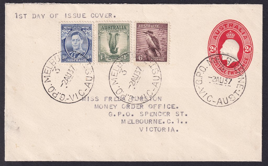 Prestamped KGV 2d envelope with KGVI 3d Blue Die IA 6d Kookaburra & 1/- Lyrebird postmarked GPO Melbourne cds on fdi - 2nd August 1937 - very scarce fdc