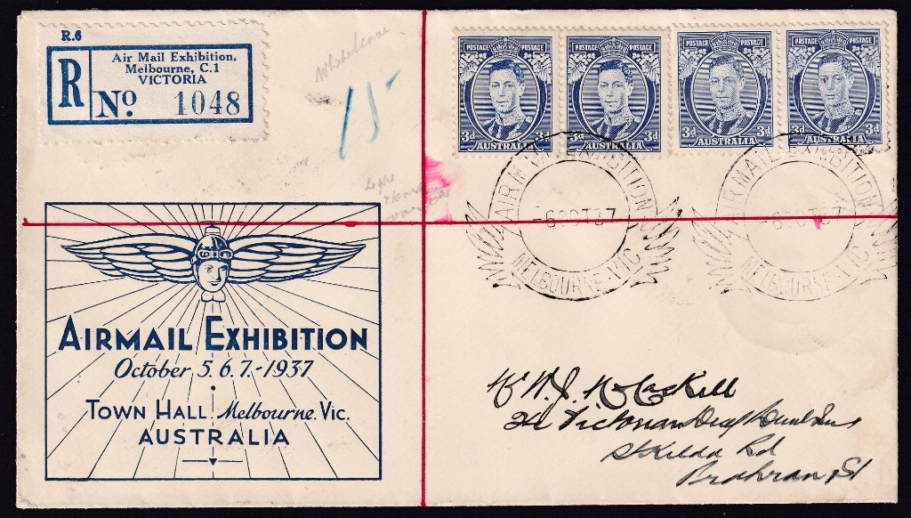 Registered Airmail Exhibition souvenir with pair of KGVI 3d Blue White Wattles & Die IA cancelled with the Airmail Exhibition pictorial postmark - 6th October 1937 (APM #410)