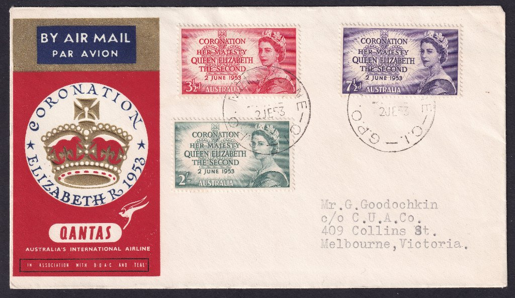 Qantas Souvenir cover for the Coronation of QEII stamps postmarked GPO Melbourne cds on fdi 2nd June 1953