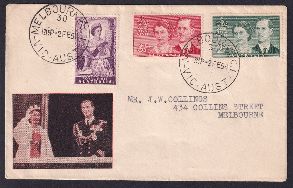 L Rouvray-Cox for 1954 Royal Visit of QEII to Australia stamps postmarked Melbourne 30 cds - 2nd February 1954.