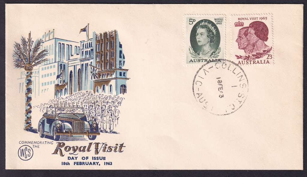 Wesley Cover Service fdc for 1963 Royal Visit of QEII stamps to Australia stamps postmarked Collins Street (Melbourne) cds - 18th February 1963