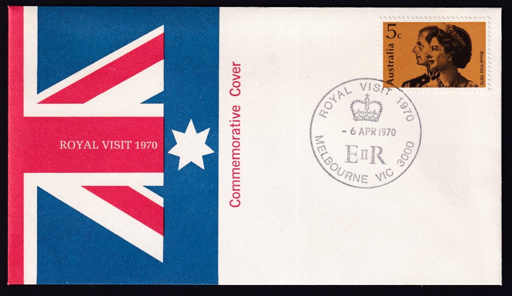 Australia Post Commemorative cover for 1970 Royal Visit of QEII to Australia 5c stamp postmarked with special pictorial postmark - 6th April 1970. (APM #3023)