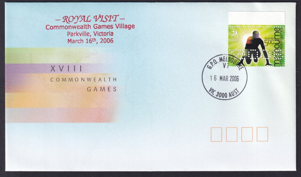 Australia Post Commonwealth Games 50c  stamp cover overprinted for Royal Visit to Commonwealth Games  Village postmarked GPO Melbourne V1 cds (APM #37735) - 16th March 2006.<br />V1, V2 or V3 on the postmark signified these were at the Games Village in Parkville