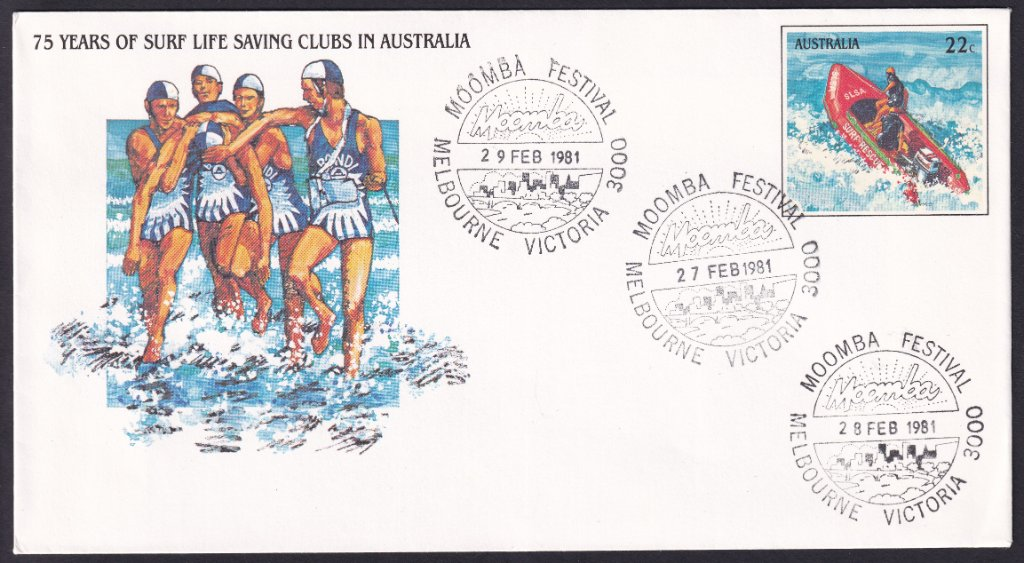75 years of Surf Life Saving pse  with Moomba pictorial postmark (APM #9875) - 27th, 28th &amp; 29th February 1981. <br />Not a bad effort as 1981 was NOT a leap year